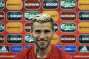 Switzerland's Valon Behrami speaks during a press conference at the LFF Stadium in Vilnius, Lithuania, on Saturday, June 13, 2015. Switzerland is scheduled to play an UEFA EURO 2016 group E qualifying soccer match against Lithuania on Sunday, June 14, 2015. (KEYSTONE/Georgios Kefalas)