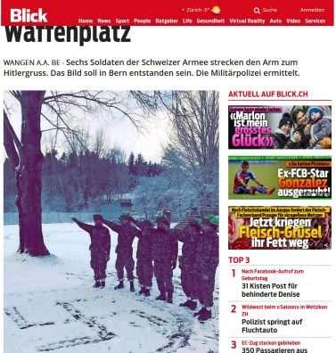 6 ushtarë zviceranë, me përshëndetje hitleriane para kryqit të thyer nazist